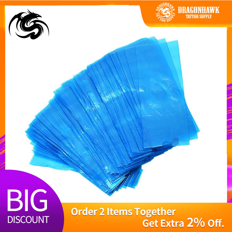 200pcs/set  Blue Tattoo Clip Cord Sleeves Bags Supply Disposable Covers Bags For Tattoo Pen Machine Tattoo Accessories