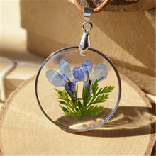 Natural Dried Flowers Necklace Blue Lobelia Erinus Handmake for Women Simple and Fashion