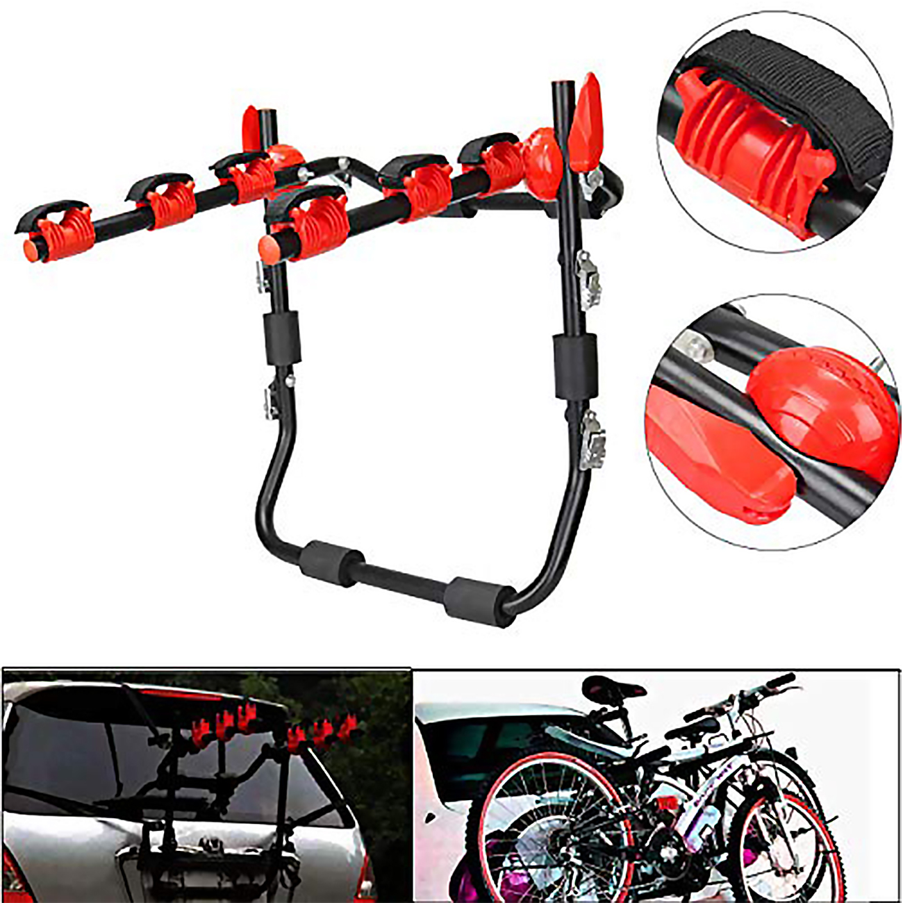 Samger Car Rear Bike Rack Carrier For 3 Bikes Safety Ropes Rear Stand Carrier Hatchback Bicycle Tailgate Car Rack|Roof Racks & Boxes| |  - title=