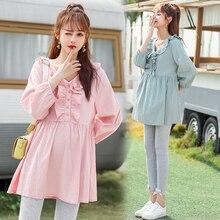 8088# 2020 Autumn Korean Fashion Cotton Maternity Blouses Sweet Cute Shirts Clothes for Pregnant Women Long Sleeve Pregnancy Top