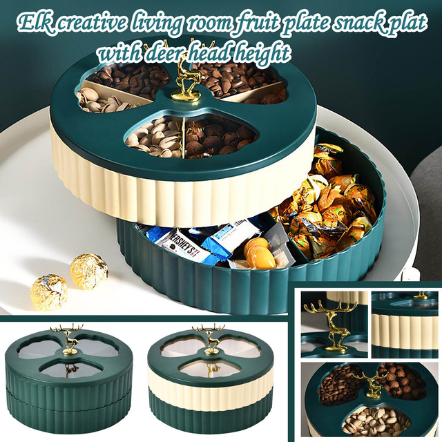 1 Pc 2 Layer Dried Fruit Box Classification Candy Box Snack Tray Storage Holder Tray 25cmx25cmx17cm Hot Sell Specialty Plates