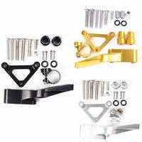 CNC Steering Damper Stabilizer Bracket Mounting Kit For DUCATI Monster 696 796 795 All Years