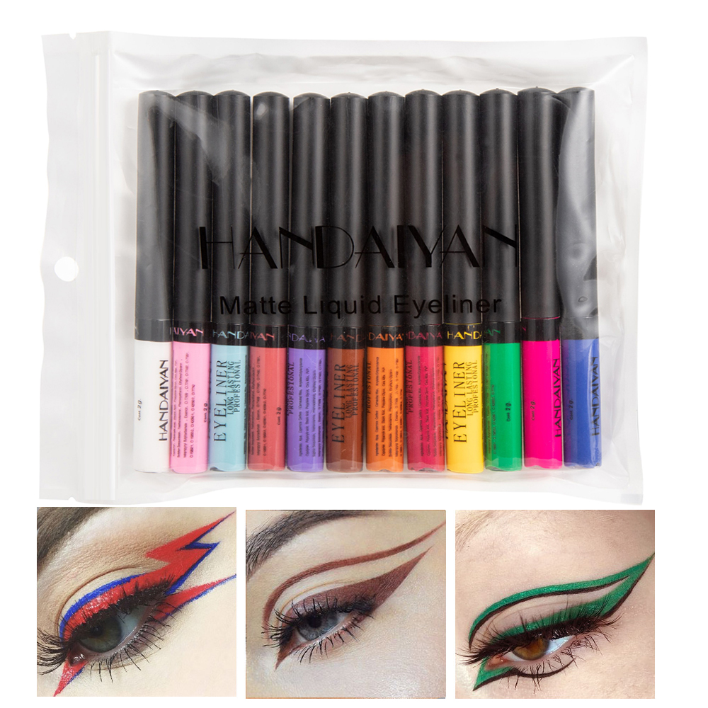 12 Colors/kit Colorful Matte Liquid Eyeliner Pencil Eyes Makeup Brown/Orange/Green Waterproof Eye Liner Pen Make Up Cosmetic Set