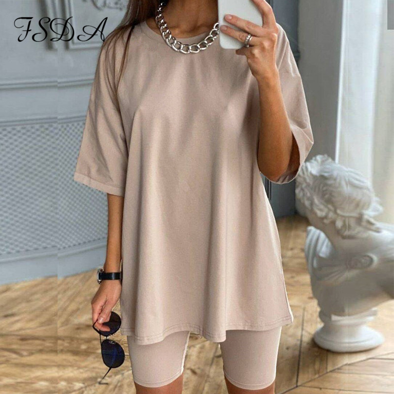 FSDA Summer 2020 Women Set O Neck Loose Short Sleeve Top Shirt And Biker Shorts Casual Two Piece Sets White Outfit Khaki Suit