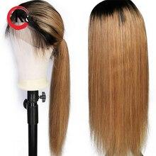 KunGang Ombre Renk Dantel Ön İnsan saçı peruk s 1B/27 Düz Brezilyalı Remy 13*4 İnsan saçı peruk Kadınlar Için Önceden koparıp