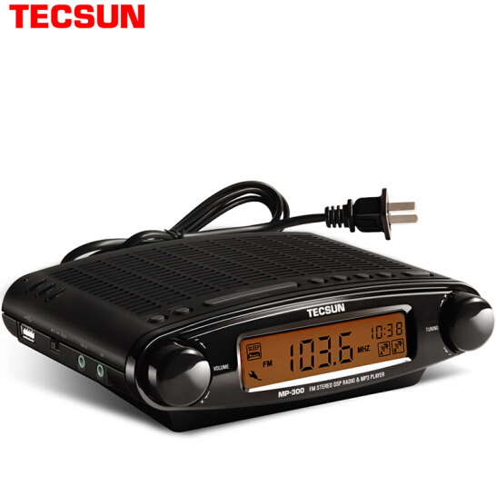 Tecsun Radio MP 300 Dsp Fm Stereo Usb MP3 Player Desktop Klok Ats Alarm Black Fm Draagbare Radio Ontvanger Y4137A Tecsun MP300