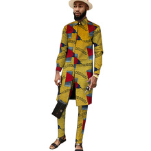 Pant Suits Outfits Shirts Trousers Party-Wear Nigerian Male African Print Patch Collar