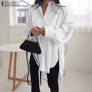 Fashion Solid Shirts Women's Asymmetrical Blouse 2020 ZANZEA Casual Lace Up Blusas Female Button Lapel Shirt Plus Size Tunic 5XL