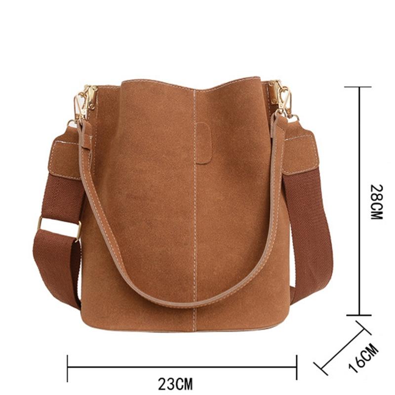 Suede Wide Strap Bucket Bag (4 Colors)