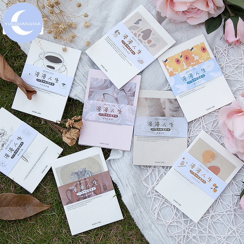 YueGuangXia Ins Life Recording Memo Pads Deco Loose Leaf Notepad Diary Writing Points MotorCycle Creative Note 15pcs 8 Designs