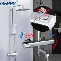 GAPPO 샤워 시스템 온도 조절 믹서 도청 샤워 물 믹서 강우량 욕실 샤워 벽 마운트 욕조 수도꼭지