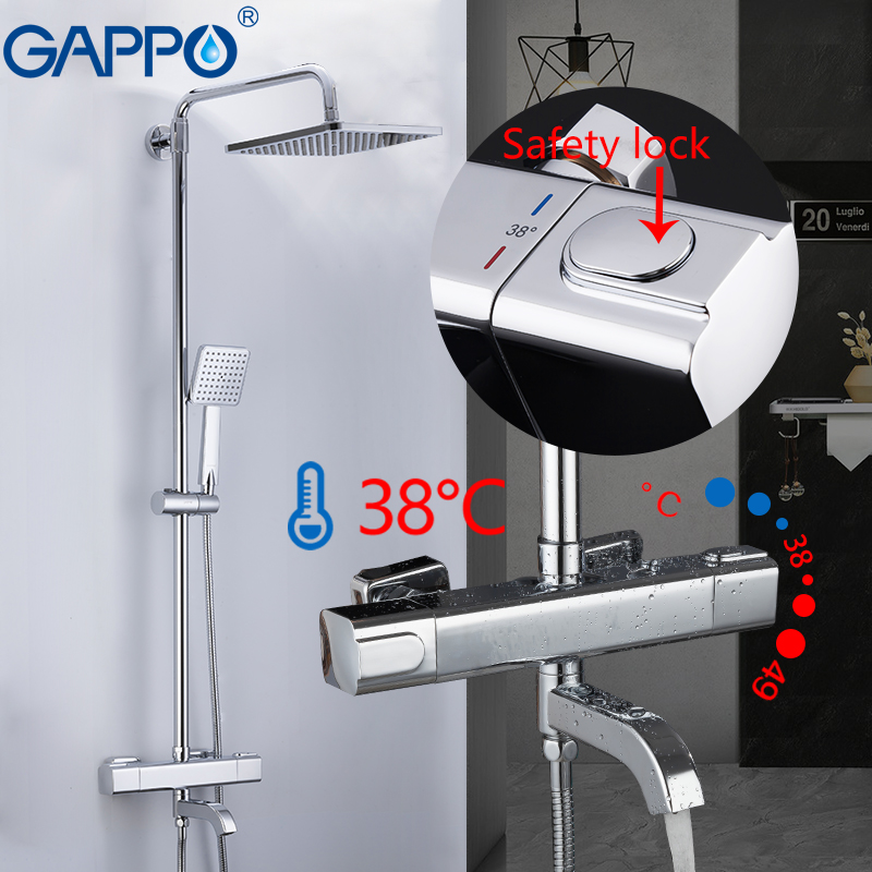 GAPPO Shower System Thermostatic Mixer Taps Shower Water Mixer Rainfall Bathroom Shower Wall Mounted Bathtub Faucets