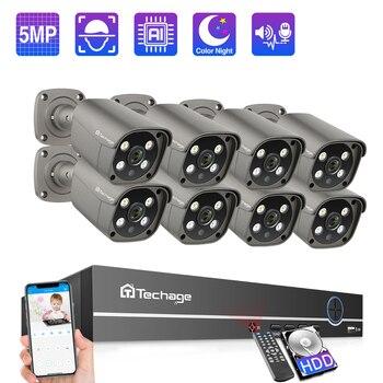 Techage 8CH 5MP POE NVR Security Camera System AI Human Detection Two-way Audio IP Camera Outdoor IR CCTV Video Surveillance Kit цена 2017