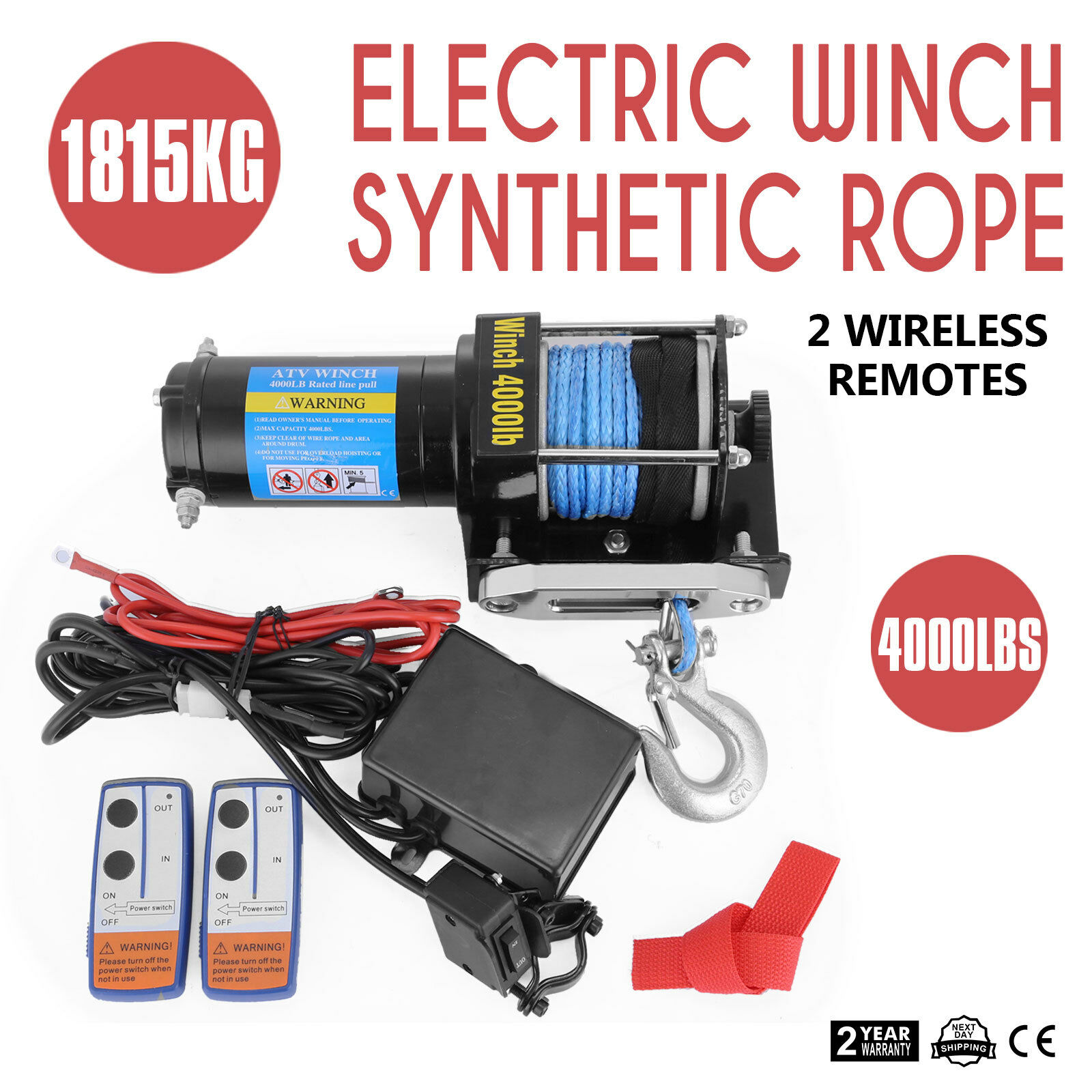 Electric Winch 4000LB(1815kg) 12V Wireless Remote Synthetic Rope ATV Boat Car