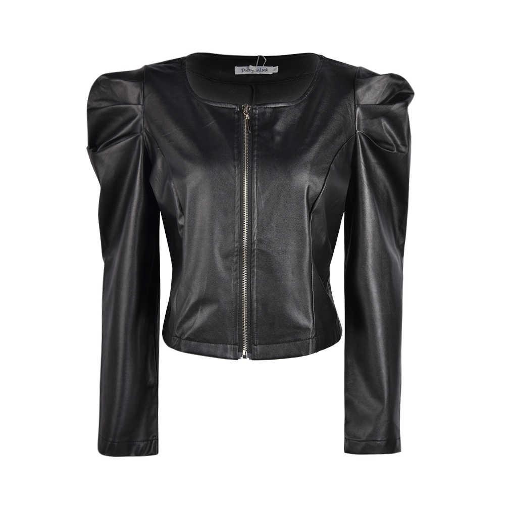 Kobiety Zipper krótka skórzana kurtka płaszcz jesień nowe bufiaste rękawy czarny znosić płaszcz eleganckie panie Slim Gothic kurtka wiatroszczelna D30