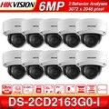 Предпродажа Hikvision оригинальная 6MP мини купольная сетевая ip-камера DS-2CD2163G0-I POE H.265 слот для sd-карты поддержка распознавания лиц 10 шт./лот