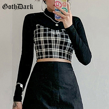 Goth Dark Gothic Two Pieces Sets Skinny Black Turtleneck Long Sleeve Women Crop Tops T-shirts With Plaid Camisole Streetwear - discount item  50% OFF Tops & Tees