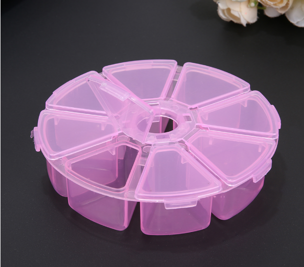 8 Grid Round Clear Storage Box Plastic Box Jewelry Beads Container Pills Box Small Objects Organizer