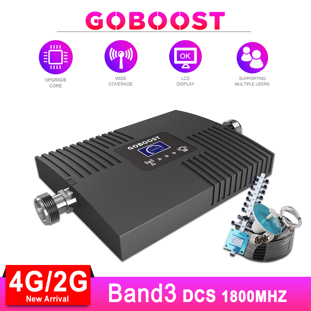 LTE 4G Repeater Cellular Signal Booster GSM 4G Signa Booster Cellphone DCS 1800 Amplifier Kit LCD Display Yagi Antenna Cable #