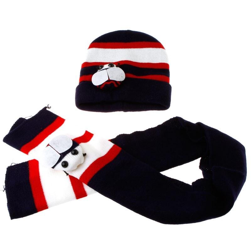 New Arrival Winter Warm Hat Scarf Gloves Set Beanies Hats Knitted Thicken Honeybee Hat Cap + Scarf Suit Dark Blue