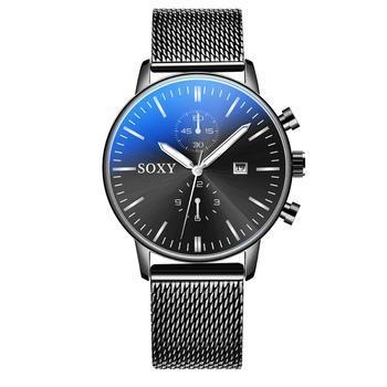 Fashion Gold Black Mesh Steel Minimalist Male Quartz Watch  1