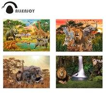 Allenjoy photophone fundo animais selvagens safari zoo floresta leão rei pano de fundo para fotografia aniversário baptismo photobooth
