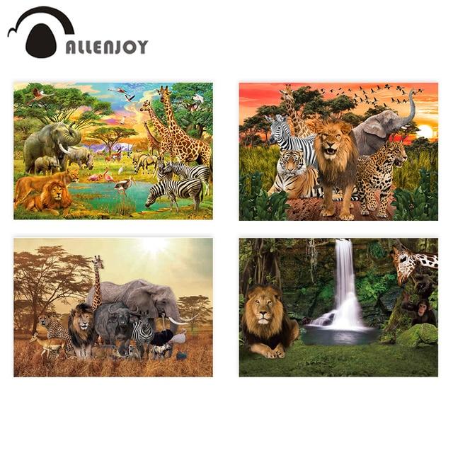 Allenjoy photophone خلفية الحيوانات البرية سفاري حديقة الحيوان الغابات الأسد الملك خلفية للتصوير عيد ميلاد المعمودية فوتوبوث
