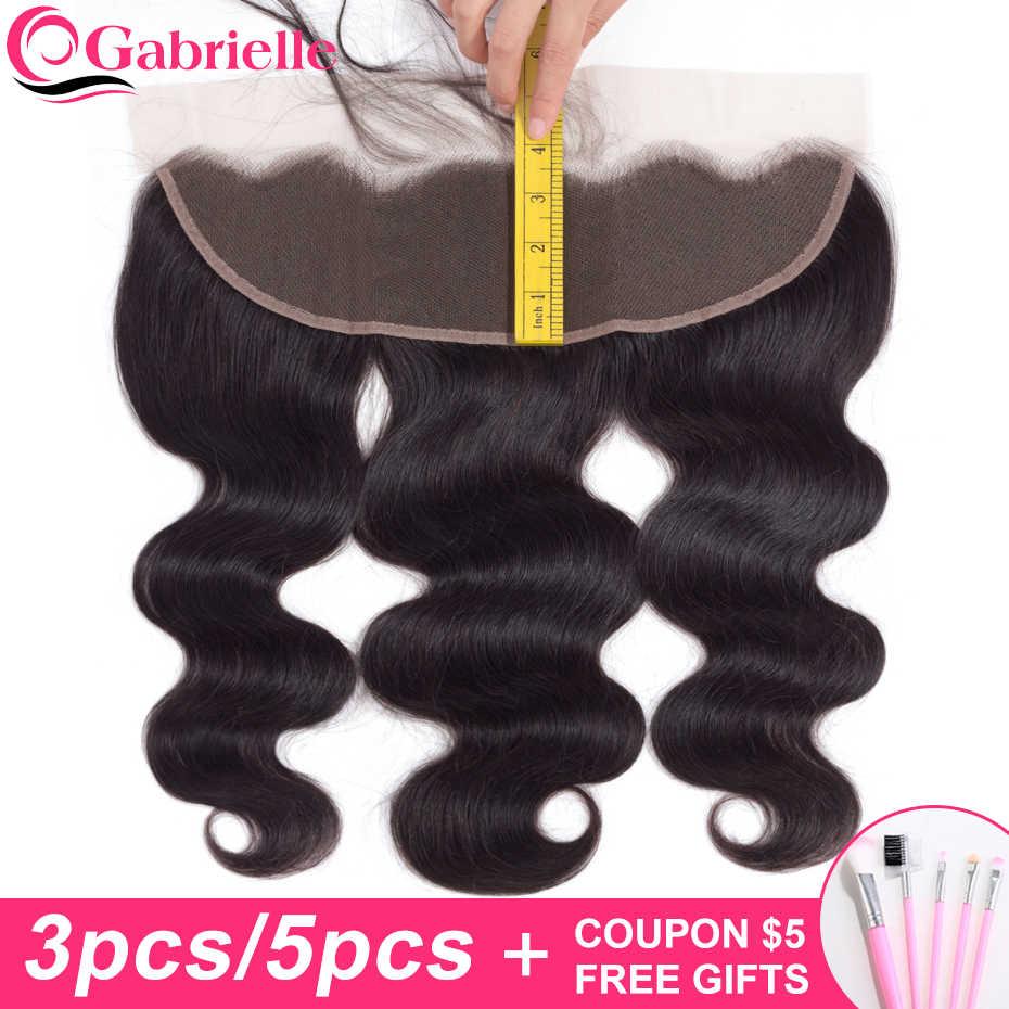 Gabrielle 13x4 кружева фронтальные Braizlian человеческие волнистые волосы, для придания объема уха до Волосы remy Кружева Закрытие естественного Цвет 1/3/5 штук в партии