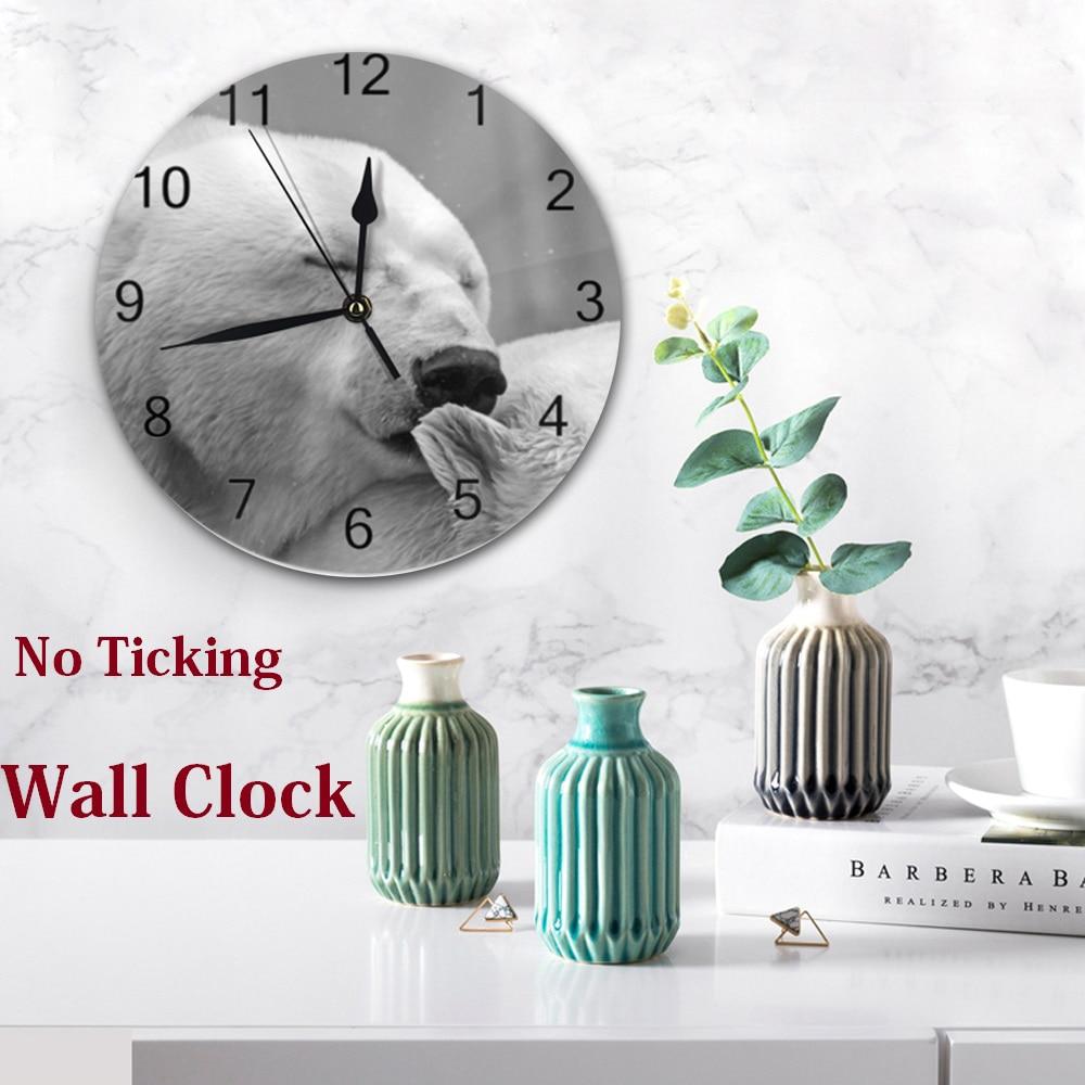 Bear Animal Pattern 25CM Wall Clocks Decor Numeral Digital Dial Mute Silent Digital Clocks Battery Operated Living Room ClockS