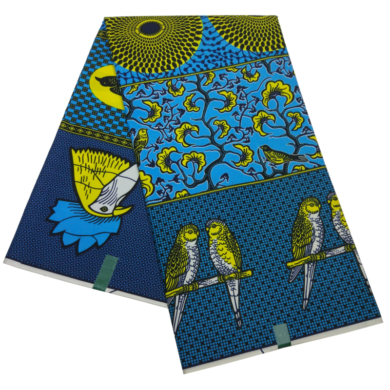 2019 Ankara African Blue Polyester Wax Birds Prints Fabric New Real Wax High Quality 6 Yards African Fabric For Party Dress