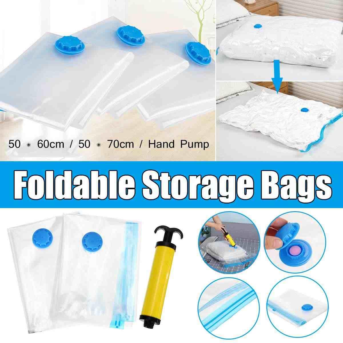 Hand Pump Vacuum Space Saver Saving Storage Bags+Seal Compressed Organizer Bag