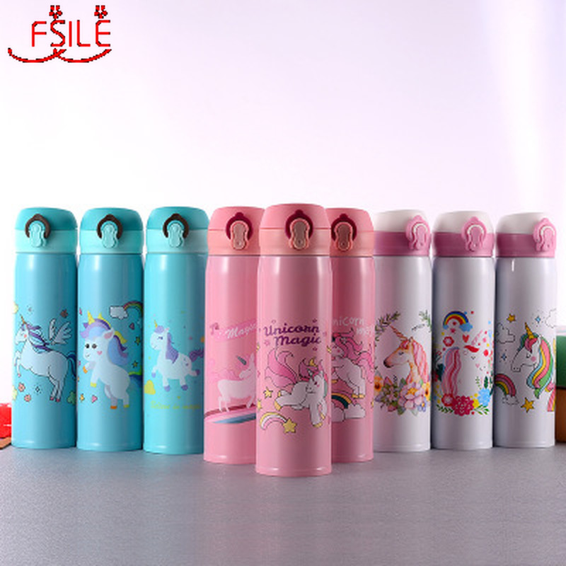 Water Bottles 500ml Capacity Drinking Water Cartoon Unicorn Stainless Steel Vacuum Flasks Water Bottle Kids Gift Kitchen|Water Bottles|   - AliExpress