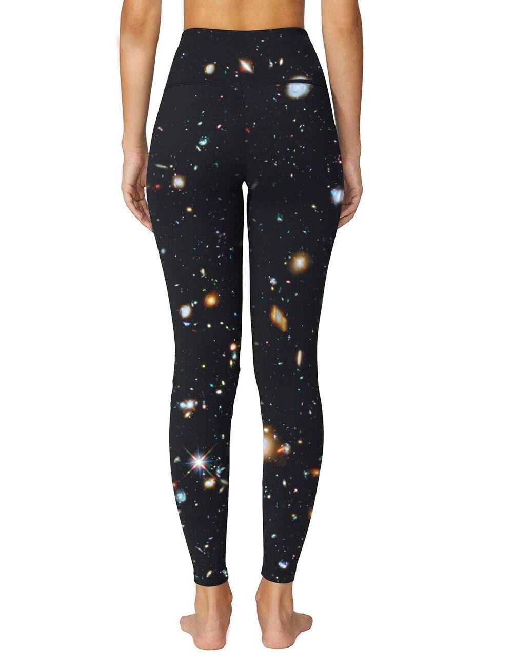 High Quality Universe Galaxies Women's Digital Printed Yoga Capris High Waist Workout Pants Moisture Wicking Running Leggings 2