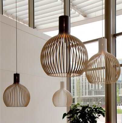 Home Deco Bamboo Weaving Wooden Pendant Lamp Modern White Black Wood Birdcage E27 Bulb Pendant Light Norbic