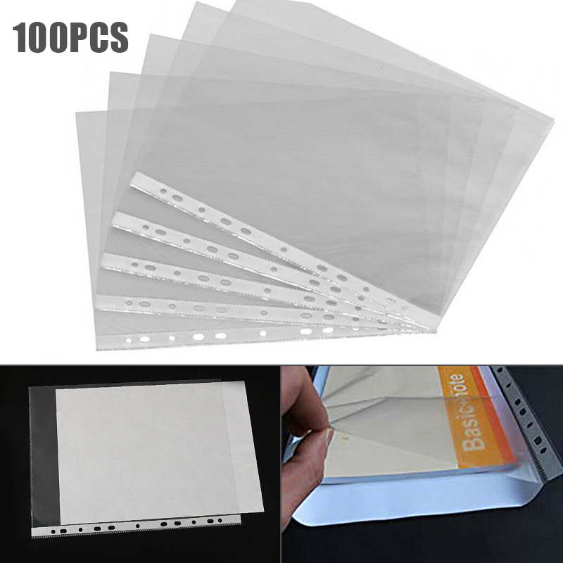 100Pcs A4 Clear Plastic Punched Pockets Folders Filing Sleeves Document Files Folders Clear Filing Paper Office School Supplies