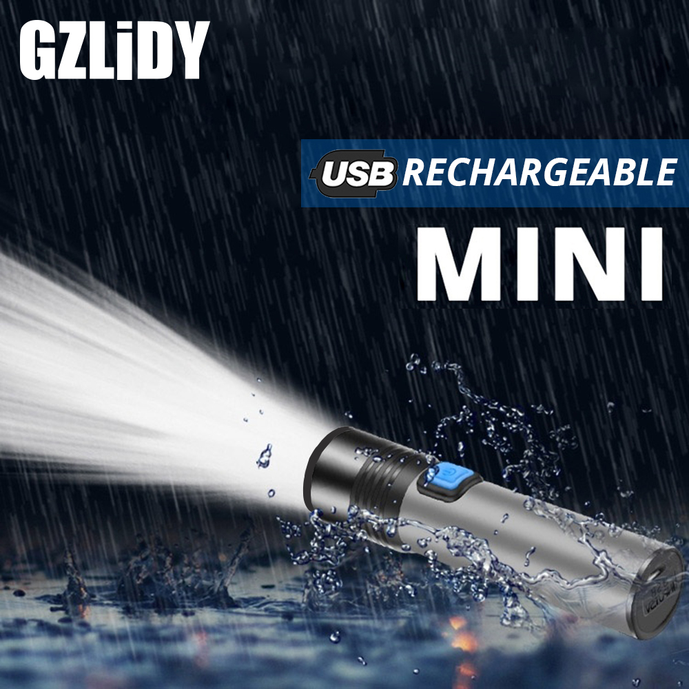 USB Rechargeable T6 LED Flashlight Mini Portable Torch With Built-in 1200mAh Lithium Battery Waterproof Zoomable Camping Light