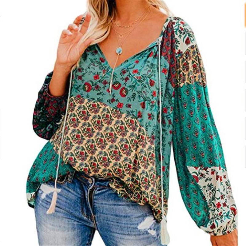 Autumn Plus Size Women Blouses Boho V-Neck Lace Up Tassel Print Long Sleeve Tops Casual Loose Holiday