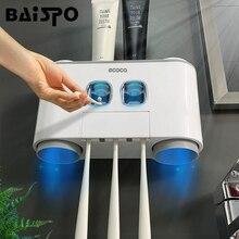 BAISPO banyo otomatik diş macunu dağıtıcı diş macunu sıkacağı duvar macun monte diş fırçası tutucu banyo aksesuarları seti