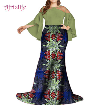 WY5496 Illusion Tulle Patchwork African Women Clothing Popular Plus Size Custom Women Long Dress