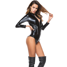 Latex Catsuit Faux-Leather Full-Bodysuit Sexy Women Zipper PVC Game Front Elastic Smooth-Wetlook