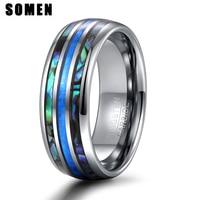 Somen 8mm 럭셔리 실버 컬러 텅스텐 카바이드 반지 블루 파이어 오팔 & 쉘 남성 여성 웨딩 약혼 반지 Bague Homme