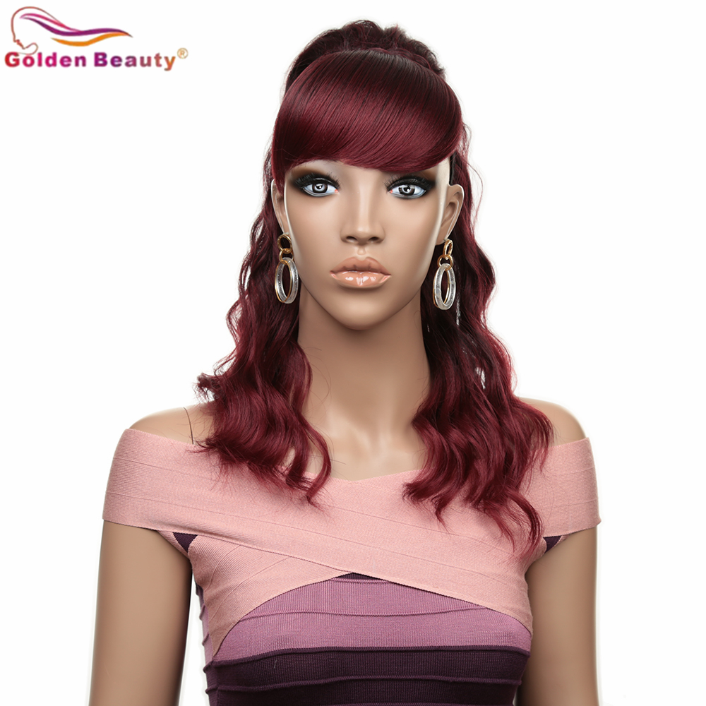 16inch 160g Ponytail With Bangs 2Combs Synthetic Curly Wave Hair Rose Intranet Wine Red For Black White Women
