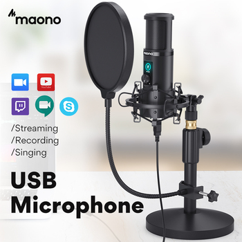MAONO AU-PM421T USB Microphone Professional Condenser Studio Live Streaming Mic for PC Laptop With One-Touch Mute and Gain Knob 1