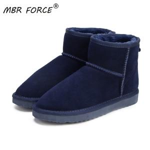 MBR FORCE/женские зимние ботинки женские ботильоны из 100% натуральной воловьей кожи теплые зимние ботинки женская обувь синего цвета Большие ра...