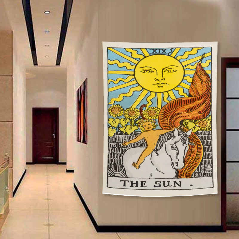 QMJYP Arazzo Raffigurante la simbologia dei tarocchi Soggiorno e dormitorio Il Sole la Luna arazzo da Parete per Camera da Letto la Lettura della Mano