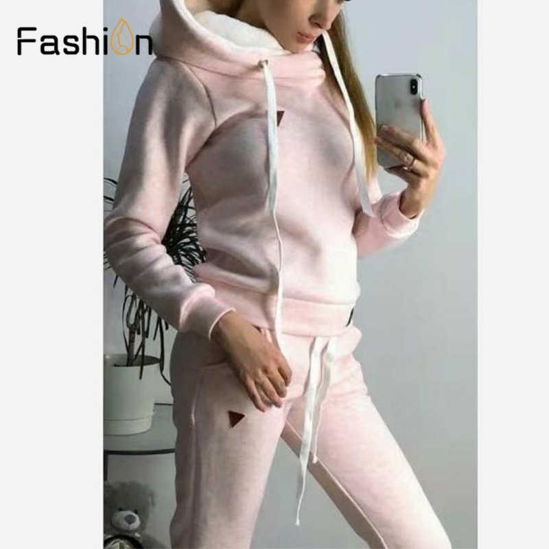 Conjunto de chándal de dos piezas para mujer 2019 Otoño Invierno traje sudadera + pantalón largo 2 piezas conjunto de dos piezas conjunto de Top y pantalones