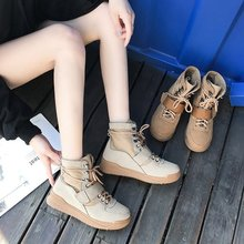 Купить с кэшбэком freeshipping 2019 spring and autumn new women shoes women's short thick high-top velcro fashion casual wild joker boots