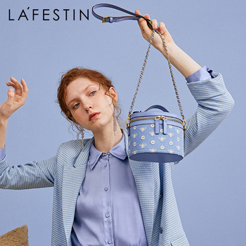 LAFESTIN 2020 new single shoulder messenger chain bag small daisy embroidery hand carry canvas bucket bag female tide lafestin 2020 spring and summer new leather soft fold cloud bag shoulder messenger female bag portable small bag tide