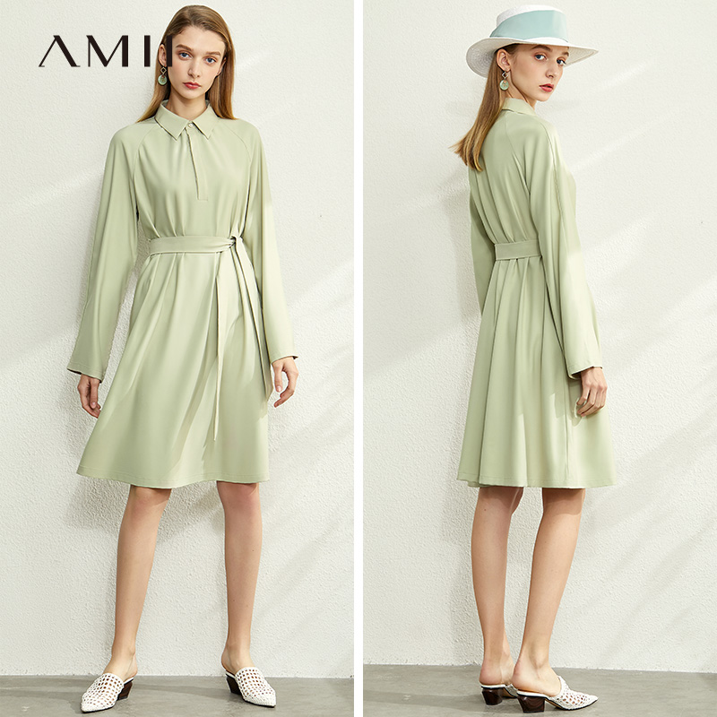 Amii Minimalist Spring Straight Shirt Dress Women Elegant Solid Turn-down Collar Belt Loose Female Mid Long Dresses 12040081