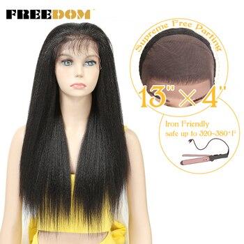 FREIHEIT Synthetische Spitze Front Perücken Für Schwarze Frauen Yaki Gerade Lange 26 zoll 65cm Afro Spitze Perücke Baby Haar hitze Beständig Faser